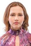 Dichte omhooggaand van het portret van jonge vrouw Royalty-vrije Stock Afbeeldingen
