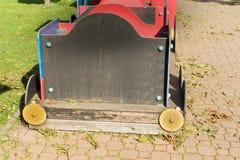 Dichte Omhooggaand van het treindetail Oud Rusty Locomotive Abstract Background Stock Foto