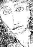 Dichte Portretschets van een slanke vrouwelijke langharige persoon stock illustratie