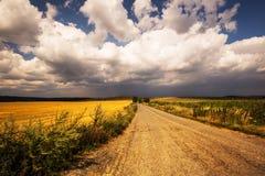Dichte Wolken über Feldern und Straße Stockbild