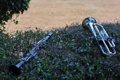 Dichter aan de klarinet, is de trompet een muzikaal instrument zoals een houten die ventilator, gewoonlijk in de het marcheren ba stock fotografie