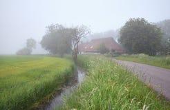 Dichter Nebel im niederländischen Ackerland Lizenzfreies Stockfoto