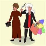 Dichterin und shopaholic stock abbildung