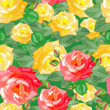 Dichtes Muster mit Rosen Stockfoto
