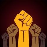 dichtgeklemde die vuist in protestillustratie wordt gehouden Stock Afbeelding