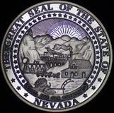 Dichtung von Nevada auf Silbermünze Stockfoto