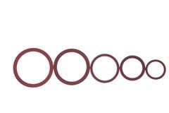 Dichtungen, Dichtungen und O-Ringe lokalisiert auf Weiß Lizenzfreies Stockfoto