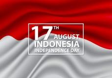 diciassettesimo vettore di celebrazione di festa di progettazione dell'onda della bandiera dell'Indonesia di giorno di August Ind Fotografie Stock Libere da Diritti