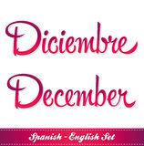 Diciembre - December english and spanish Stock Images