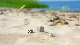 Dicing. On seacoast, on sand summer are serene in the afternoon royalty free stock photography