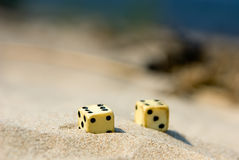 Dicing. On seacoast, on sand summer are serene in the afternoon royalty free stock images