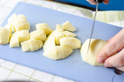Dicing apples Stock Photo