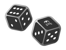 Dicing with death. Vector of two dice, one with skull and crossbones - concept for dicing with death vector illustration