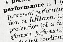 Dicionário de palavra de do desempenho Fotografia de Stock Royalty Free