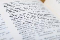 Dicionário francês na palavra Dictonary Foto de Stock Royalty Free
