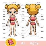 Dicionário visual para crianças sobre o corpo humano, menina ilustração stock