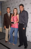 Dick Clark,Kelly Clarkson,Nick Lachey. Singers KELLY CLARKSON & NICK LACHEY & producer DICK CLARK at the nominations annoucement for the American Music Awards Stock Photo