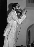Dick Gregory. Civil rights activist, agitator, comedian, author, entrepreneur, and former college track athlete, Dick Gregory, is caught in the act of making Stock Photos