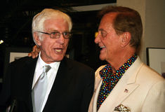 Dick Van Dyke and Pat Boone. Legendary actor/comedian Dick Van and singer/actor Pat Boone chatted at the annual Frank Sinatra Celebrity Invitational golf Royalty Free Stock Images