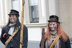 Dickens festival characters Christmas carol. Every year in Deventer, with different characters. men and women who do after the Middle Ages. figurants are made Royalty Free Stock Photography