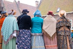 Dickens festival characters Christmas carol. Every year in Deventer, with different characters. men and women who do after the Middle Ages. figurants are made Royalty Free Stock Image