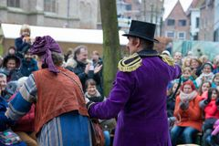 Dickens festival characters Christmas carol. Every year in Deventer, with different characters. men and women who do after the Middle Ages. figurants are made Royalty Free Stock Images