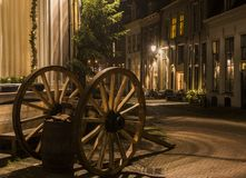 Dickens Festival Deventer. Deventer, The Netherlands - December 17, 2016: Deventer during Christmas time in the evening with christmas lights, carriage  and Stock Photos