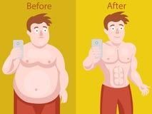 Dicker Mann, der selfie vor und nach Gewichtsverlust tut stock abbildung