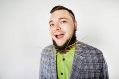 Dicker Mann mit Bart Stockfotografie