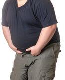 Dicker Mann mit einem dicken Bauch lizenzfreie stockfotografie