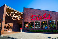 Dicks Drive In Seattle. In 2013, Dick's Drive-In was voted the most life-changing burger joint in America in an Esquire.com poll Royalty Free Stock Photography