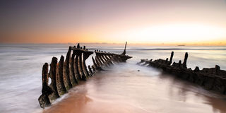 Dicky Wreck au lever de soleil Photographie stock