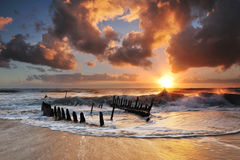 Dicky Wreck at sunrise Royalty Free Stock Photos
