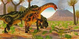 Dicraeosaurus attacked by Yangchuanosaurus. Yangchuanosaurus dinosaurs try to take down a Dicraeosaurus sauropod as three Juravenator reptiles watch Stock Image
