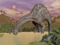 Dicraeosaurus dinosaur drinking - 3D render Stock Photos
