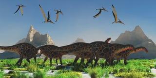 Dicraeosaurus Dinosaur Herd stock photo
