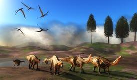 Dicraeosaurus Dinosaur Meadow Stock Image