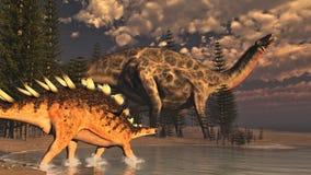 Dicraeosaurus and kentrosaurus dinosaurs - 3D  Stock Photo