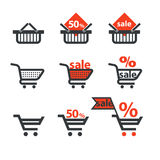 Dicsount icons with shopping cart Stock Image
