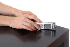 Dictaphone in male hand Royalty Free Stock Photos