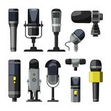 Dictaphone, microphone and other professional tools for reporters and speakers stock illustration