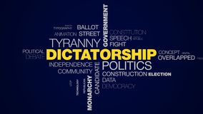 Dictatorship politics tyranny government protest president strike power conflict monarchy police animated word cloud stock footage