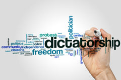 Dictatorship word cloud. Concept on grey background stock photo
