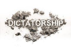 Dictatuurwoord in stof als politieke ideologie wordt geschreven die stock afbeelding