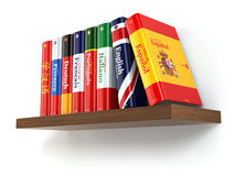 Dictionaries on bookshelf white  backgound. Stock Images