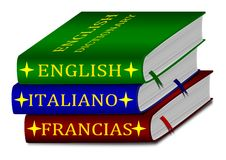 Dictionaries - English, Italian, French Royalty Free Stock Photos