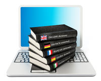 Dictionaries standing on laptop computer Stock Photography