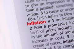 Dictionary. Photograph of the definition of inflation in a dictionary stock images
