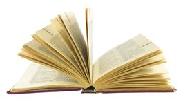 Dictionary. Open old english dictionary on white royalty free stock images