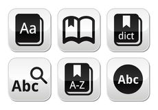 Dictionary book  buttons set Royalty Free Stock Photos